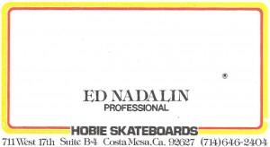 Hobie Skateboards business card